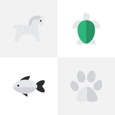 Vector Illustration Set Of Simple Animals Icons. Elements Foot, Perch, Steed And Other Synonyms Fish, Tortoise And Steed.