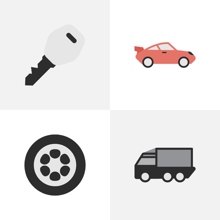Vector Illustration Set Of Simple Transportation Icons. Elements Lorry, Wheel, Open And Other Synonyms Lorry, View And Wheel.