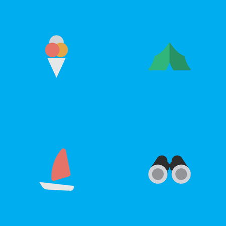 Vector Illustration Set Of Simple Travel Icons. Elements Camping, Sorbet, Optical Zoom And Other Synonyms Boat, Tent And Sorbet. Illustration