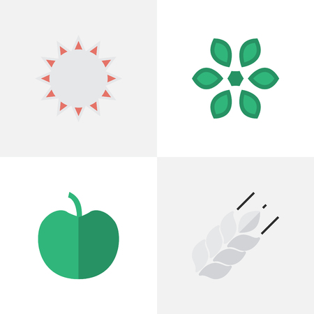 Vector Illustration Set Of Simple Horticulture Icons. Elements Corn, Blossom, Sunny And Other Synonyms Corn, Bread And Pot. Illustration