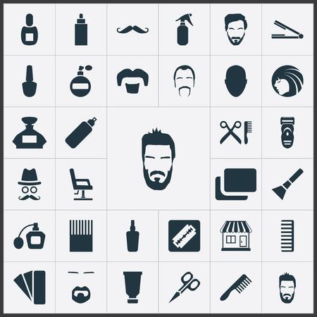 単純な床屋アイコンのベクター イラスト セット。要素のコンテナー、あごひげ、ほお紅、他類義語口ひげあごひげとバイアル。