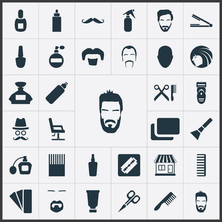 Vector Illustration Set Of Simple Barber Icons. Elements Container, Goatee, Blusher And Other Synonyms Mustache, Goatee And Vial. Illustration