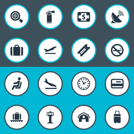 Vector Illustration Set Of Simple Transportation Icons. Elements Luggage Carousel, Cigarette Forbidden, Flight Control Tower And Other Synonyms Time, Sitting And Fly. Иллюстрация