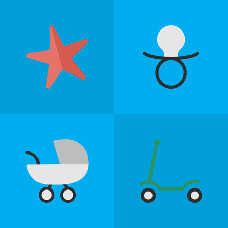 Vector Illustration Set Of Simple Child Icons. Elements Nipple, Toy, Stroller And Other Synonyms Scooter, Stroller And Carriage.