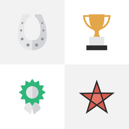 Vector Illustration Set Of Simple Reward Icons. Elements Metal, First, Reward And Other Synonyms Medal, Metal And Horseshoe.