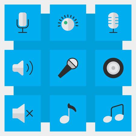 Vektorabbildung-Satz einfache Ikonen. Elemente Lautsprecher, Regler, Mikrofon und andere Synonyme Musik, Lautstärke und Mikrofon. Standard-Bild - 84710049