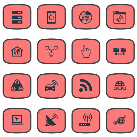 Vector Illustration Set Of Simple Internet Icons. Elements Loading, Pointer, Automobile And Other Synonyms Router, Pointer And Server.