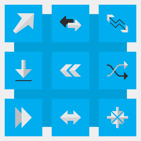 Vector illustratie Set van eenvoudige aanwijzer pictogrammen. Elements Back, Southwestward, Inside And Other Synoniemen Arrow, Everyway en Import.