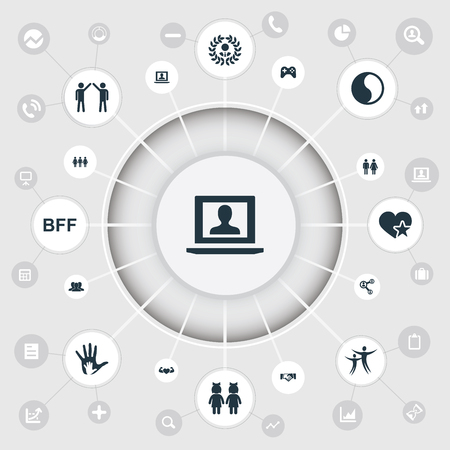 簡単な仲間のアイコンのベクトル イラスト セット。要素の仲間、友情、プロファイル、他の同義語のメダル、ネットワーク、群衆します。