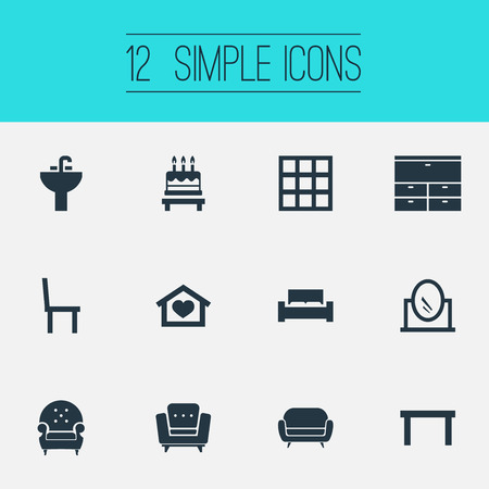 Vector Illustration Set Of Simple Furnishings Icons. Elements Couch, Dessert, Chair And Other Synonyms Birthday, Looking-Glass And Pier-Glass.