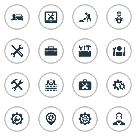 Vector Illustration Set Of Simple Fixing Icons. Elements Craftsman, Option, Builder And Other Synonyms Car, Brigade And Foreman.
