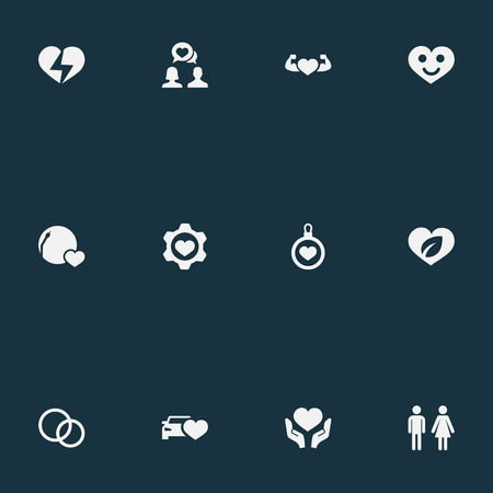 Vector Illustration Set Of Simple Feelings Icons. Elements Beloveds, Broken Soul, Eco And Other Synonyms Lovers, Song And Happy. 版權商用圖片 - 84710079