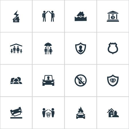 簡単なヒューズ アイコンのベクター イラスト セット。要素保護ジョブ アコード禁止など類義語保安官、銀行し、屋根します。  イラスト・ベクター素材