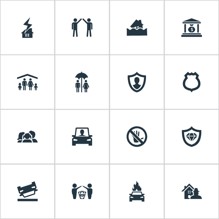 Vector Illustration Set Of Simple Fuse Icons. Elements Protection, Job Accord, Prohibited And Other Synonyms Sheriff, Bank And Roof.