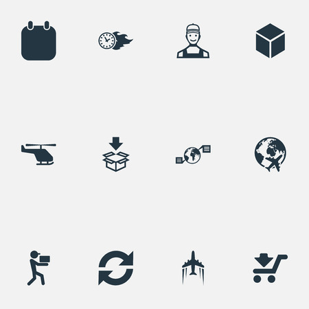 Vector Illustration Set Of Simple Logistics Icons. Elements Courier, Shipping Vehicle, Time In Fire And Other Synonyms Arrow, Box And Courier.