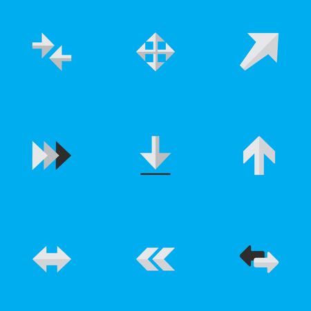 Illustrazione vettoriale Set di icone semplici del cursore. Elementi Verso sud-ovest, Esportazione, In ogni caso e altri sinonimi Verso l'alto, Indietro e Indietro. Archivio Fotografico - 84710091