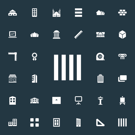 Vector Illustration Set Of Simple Structure Icons. Elements Menu, Islamic Monument, Whiteboard And Other Synonyms Residential, Construction And Stone. Banco de Imagens - 84710093