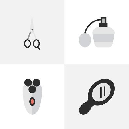 単純な美容院アイコンのベクター イラスト セット。要素ガラス、はさみ、シェービング マシンと他の類義語香水、はさみや機械します。