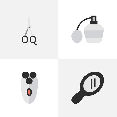 Vector Illustration Set Of Simple Hairdresser Icons. Elements Glass, Scissors, Shaving Machine And Other Synonyms Perfume, Scissors And Machine. Çizim