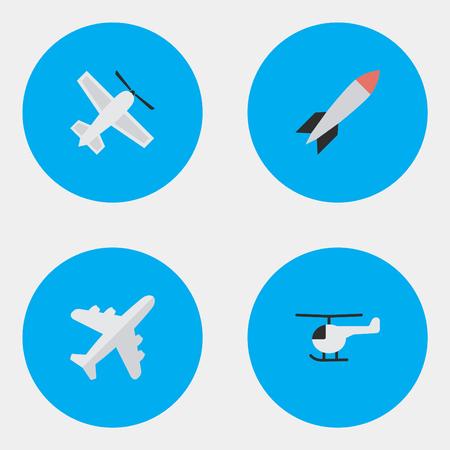 Vector Illustration Set d'icônes de plan simple. Bombe d'éléments, copter, avion et autres synonymes Dynamite, hélicoptère et fusée. Banque d'images - 84710095