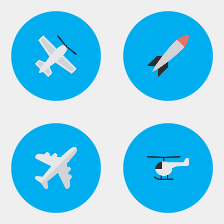 Vector Illustration Set Of Simple Plane Icons. Elements Bomb, Copter, Aircraft And Other Synonyms Dynamite, Helicopter And Rocket.