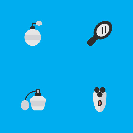 Vector Illustration Set Of Simple Shop Icons. Elements Fragrance, Shaving Machine, Glass And Other Synonyms Shaving, Speculum And Mirror. Banco de Imagens - 84710097
