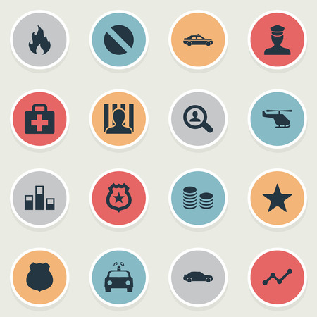 Vector Illustration Set Of Simple Crime Icons. Elements Medicine, Narcotic, Prison And Other Synonyms Drive, Safety And Policeman. Stock fotó - 84710098