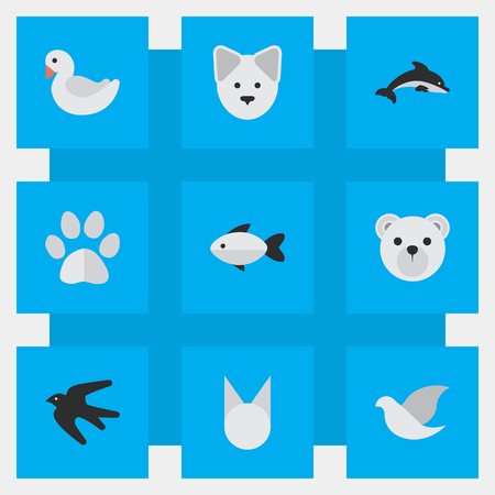 Vektor-Illustration Satz von einfachen Zoo Icons. Elemente Barsch, Wolf, Fisch und andere Synonyme Fuß, Fisch und Meeresfrüchte. Standard-Bild - 84710100