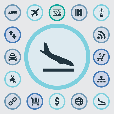 Vector Illustration Set Of Simple Infrastructure Icons. Elements Opposite Arrows, Beacon, Wifi Area And Other Synonyms Opposite, Arrival And Globe.