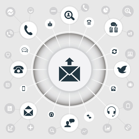 Vector Illustration Set Of Simple Connect Icons. Elements Postcard, Cellular Appliance, Postage And Other Synonyms Global, Career And Arrows. Illustration