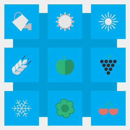 簡単な園芸アイコンのベクター イラスト セット。果物の要素、イラ、雪や他の類義語のワイングラスのフレーク小麦やブドウ。