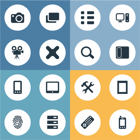 Vector Illustration Set Of Simple Device Icons. Elements Fingerprint, Layout, Settings And Other Synonyms Document, Mobile And Computer.