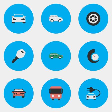 Ilustración vectorial Conjunto De Iconos De Tráfico Simples. Elementos Suv, Open, Deporte Y Otros Sinónimos Chronometer, Bus And Open. Foto de archivo - 84710109