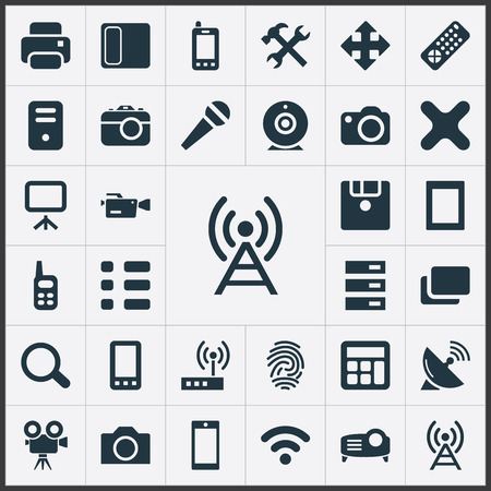 Vector Illustration Set Of Simple Gadget Icons. Elements Recording, Diskette, Schedule And Other Synonyms Server, Option And Show.
