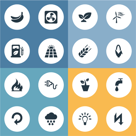 Vector Illustration Set Of Simple Power Icons. Elements Weed, Thunderbolt, Fire And Other Synonyms Grain, Photocell And Reuse.