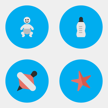Vector Illustration Set Of Simple Kid Icons. Elements Child, Vial, Yule And Other Synonyms Children, Starfish And Yule.