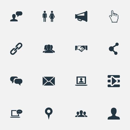 벡터 일러스트 레이 션 간단한 인터넷 아이콘의 집합입니다. 요소 그룹, 채팅, 포인트 및 기타 동의어 프로필, 포인트 및 확성기. 일러스트