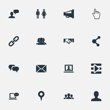 Vector Illustration Set Of Simple Internet Icons. Elements Group, Chatting, Point And Other Synonyms Profile, Point And Megaphone.