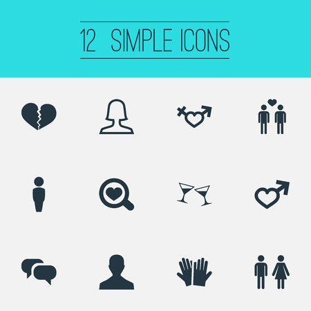 Vector Illustration Set Of Simple Lovers Icons. Elements Messaging, Miss, Celebration And Other Synonyms Pair, Divorce And Celebration.