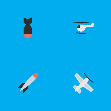 Vector Illustration Set Of Simple Aircraft Icons. Elements Craft, Bomb, Copter And Other Synonyms Helicopter, Dynamite And Airplane.
