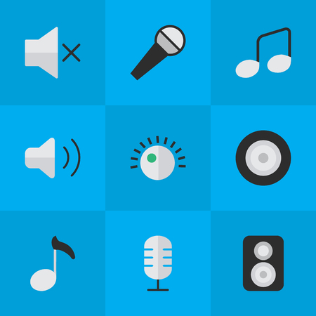 Vector Illustration Set Of Simple  Icons. Elements Volume, Loudspeaker, Speaker And Other Synonyms Mute, Regulator And Volume. Illustration