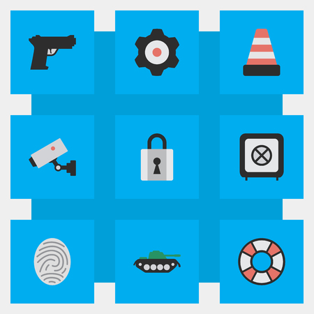 Vector Illustration Set Of Simple Criminal Icons. Elements Military, Closed, Bioskyner And Other Synonyms Cone, Lifebuoy And Security.