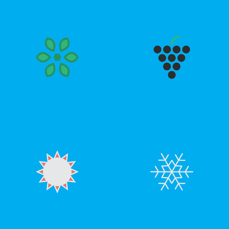 Vector Illustration Set Of Simple Horticulture Icons. Elements Wine, Blossom, Sunny And Other Synonyms Sun, Snowflake And Hate.