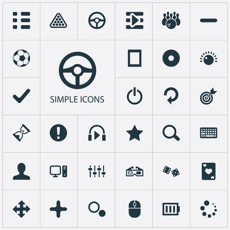 Vector Illustration Set Of Simple Leisure Icons. Elements Asterisk, Dvd, Update And Other Synonyms Exclamation, Headphones And Process.