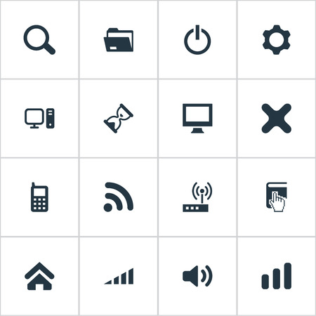 Vector Illustration Set Of Simple Technology Icons. Elements Modem, Cross, Dossier And Other Synonyms Screen, Book And Home.