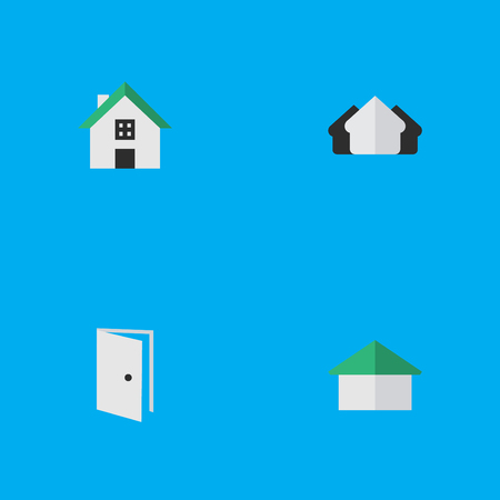 Vector Illustration Set Of Simple Real Icons. Elements Architecture, Home, Property And Other Synonyms Estate, Door And Real.