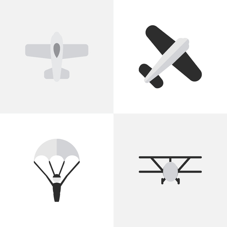 Vector Illustration Set Of Simple Aircraft Icons. Elements Airplane, Plane, Aviation And Other Synonyms Catapults, Man And Aviation.