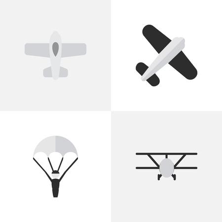 Vektor-Illustration Satz einfache Flugzeug-Ikonen. Elemente Flugzeug, Flugzeug, Luftfahrt und andere Synonyme Katapulte, Mann und Luftfahrt. Standard-Bild - 84710126