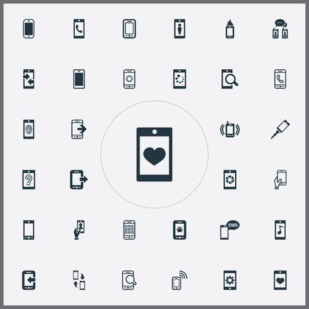 簡単な電話のアイコンのベクトル イラスト セット。要素の検索、発信通話、同期、他の同義語の着信設定と転送。  イラスト・ベクター素材