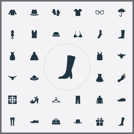 Vector Illustration Set Of Simple Garments Icons. Elements Footwear, Headpiece, Panties And Other Synonyms Top, Barefoot And Woman.